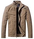 WenVen Men's Spring Casual Lightweight Full Zip Military Jacket(Khaki,Medium)