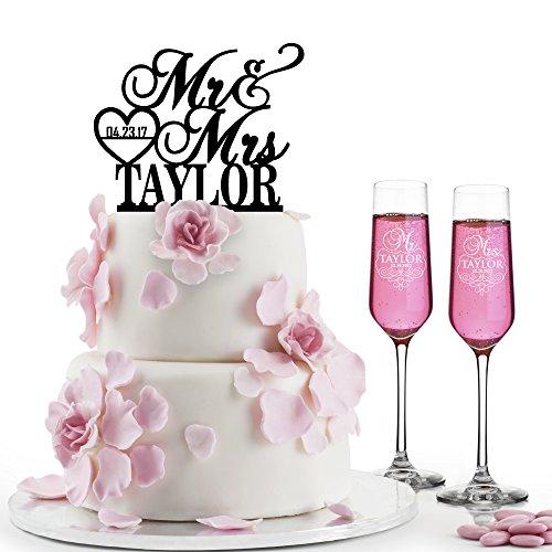Personalized Wedding Cake Topper + Set of 2 Champagne Flute - Wedding Bundle, Wedding Toast Etched Engraved Champagne Glasses & Laser Cut Acrylic Cake Topper Wedding Gift #3 Black