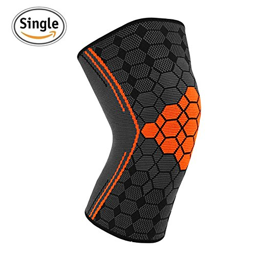 Dimiyer Compression Knee Brace Sleeve for Running Meniscus Tear Arthritis Weightlifting Crossfit Yogaing Recovery Lightweight Support Knee for Men and Women (Orange, Medium)