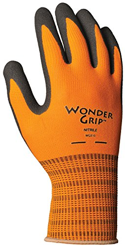 Wonder Grip WG510L Extra Tough Insulated Seamless Polyester Knit, Textured Double-Coated Nitrile Palm Work Gloves, Large, (Palm Work Gloves)
