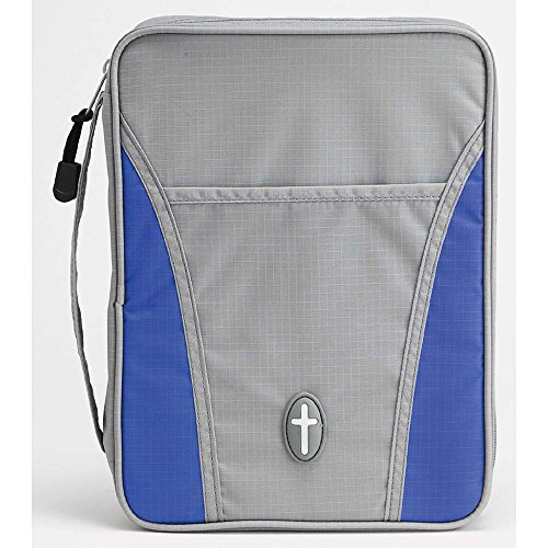 Bible Nylon Cover - Grey and Bright Blue Cross Front Pocket Medium Nylon Bible Cover with Handle