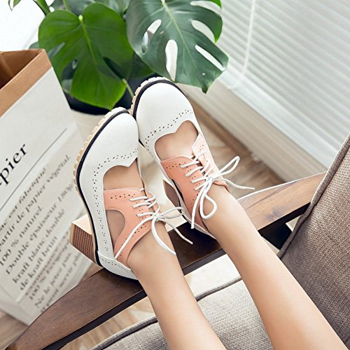 Carolbar Womens Lace-Up Fashion Cute Mid Heel Oxfords Shoes White 76aQyX9