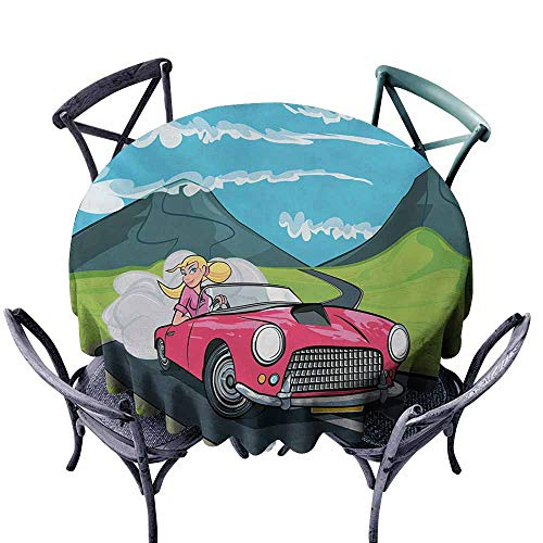 Snadkil Antifouling Tablecloth Cars Blonde Girl Driving a Sports Car Through The Country in Cartoon Style Travel Road Trip Multicolor Easy to Clean D55 -