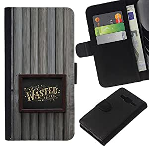 Stuss Case / Funda Carcasa PU de Cuero - Marco borracho Alcohol Oro Wasted - Samsung Galaxy Core Prime
