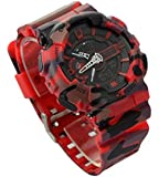 Ideashop Red Mens Dual Time LED Digital Watch Dive Waterproof Sports Fashion Army Camouflage Military Wristwatches