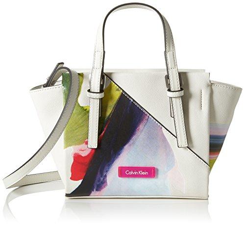 Calvin Klein M4RISSA Print Mini Tote, Bolsa para Mujer, Blanco (Powder White), 18x10x32 cm (b x h x t)