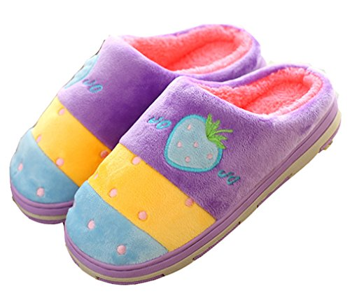 Dsmor Womens Fragola Carino Pantofole Pantofole Invernali Peluche Calde Pantofole Viola