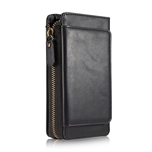 iPhone 8 Plus Case,Vacio Zipper Card Slots Money Pocket Clutch Cover Wallet Retro Vintage Stand Smart Wallet Credit Billfold Pouch Magnetic Phone Sleeve Case for iPhone 7 Puls/8 Plus.(Black)