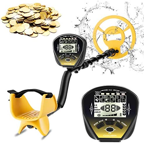 COOCHEER Metal Detector for Adults, 5 Mode Underwater Metal Detector, High Accuracy Adjustable with Big Backlit LCD, Upgraded DSP and Audio Prompts, Carrying Bag and Shovel for Easy Travel