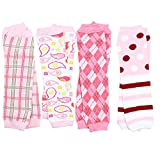 juDanzy Girls Preppy 4 pack of baby leg warmers, plaid argyle, ballet, paisley