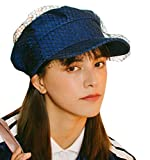 Clecibor Tulle Detail Denim Octagonal Cap Fashion Solid Newsboy Cap