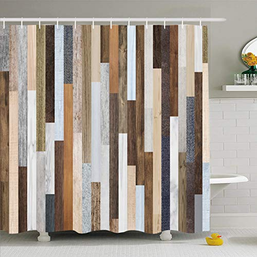 (Ahawoso Shower Curtain 72 x 72 Inches Plank Rustic Wood Planks Pallet Grain Abstract Aged Beech Board Design Fence Waterproof Polyester Fabric Bathroom Set with Hooks)