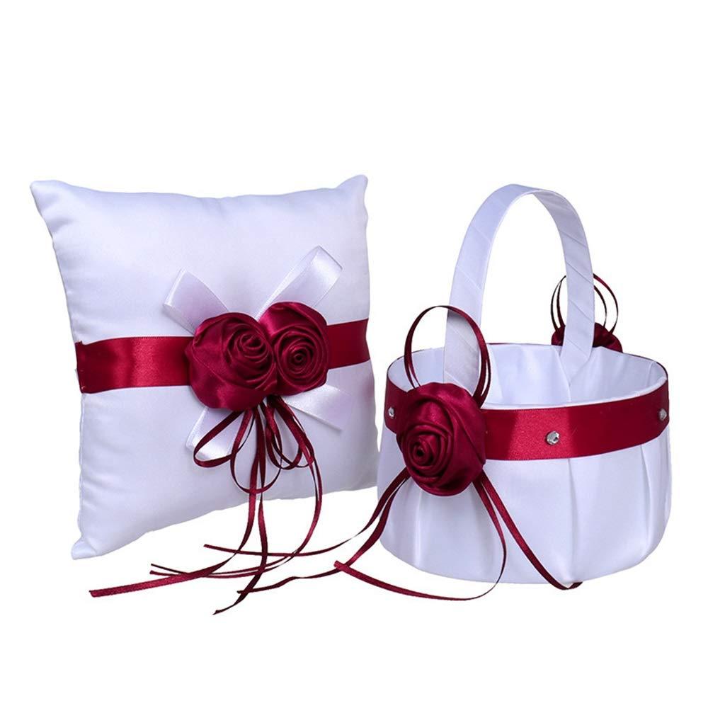 LPGK Wedding Flower Basket Wedding Flower Basket Ring Pillow Set Wedding Groom Bride Wine Red Ring Pillow Box Set Wedding Accessory (Color : White)
