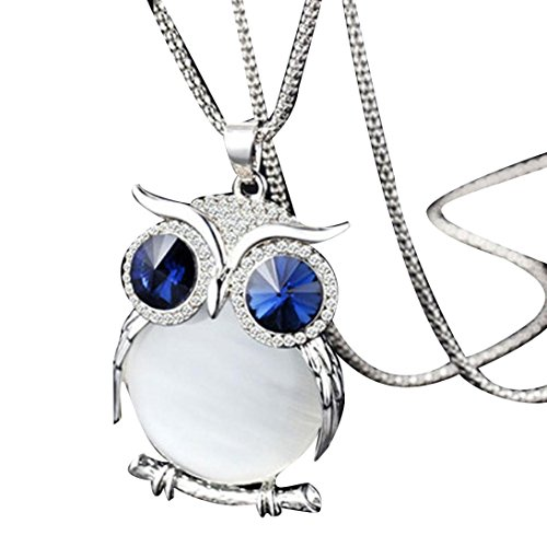 hinestone Owl Pendant Necklace Women Vintage Glass Cabochon Necklace Long Chain Jewelry (D) ()