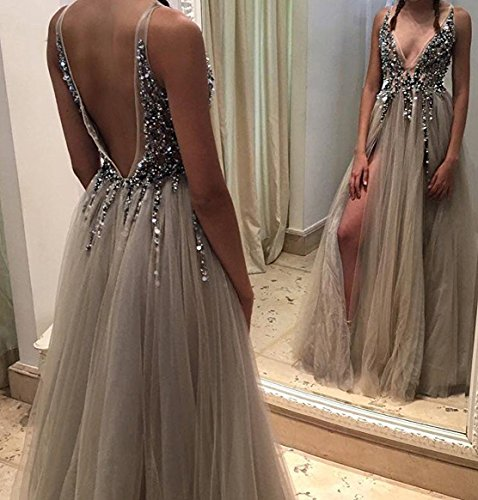 Gown Neck Party Split Grape BD272 Formal Tulle BessDress Evening Prom V Sequins High Dresses qwFvPx5