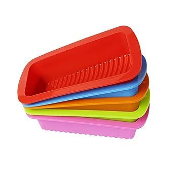 BESTOMZ Molde para Pan de Silicona / Molde para bizcochos o pan - Molde para Torta Antiadherente Rectangular con Empuñaduras para Mango(Color aleatorio): ...