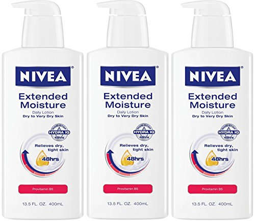 Nivea Extended Moisture Daily Lotion for Dry to Very Dry Skin, 13.5 Fluid Ounce (Pack of 3)