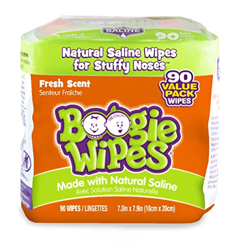 Boogie Wipes Soft Natural Saline Wet Tissues for Baby and Kids Sensitive Nose, Hand, and Face with Moisturizing Aloe, Chamomile, and Vitamin E, Fresh Scent, 45 Count (Pack of ()