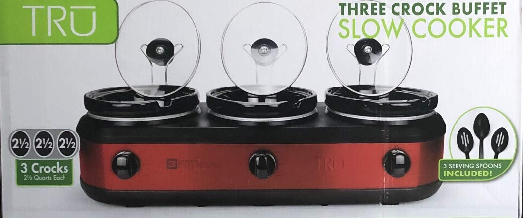 TRU Buffet Slow Cooker 3-Crock Set, Red