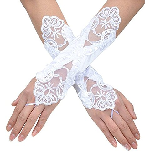 (Women Bridal Gloves Lace Satin With Pearl Beaded Long Fingerless Wedding Gloves White)