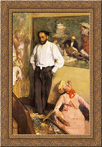 Portrait of Henri Michel-Levy in his studio 24x18 Gold Ornate Wood Framed Canvas Art by Edgar Degas