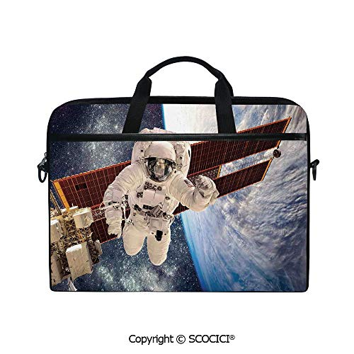 - Printed Waterproof Laptop Shoulder Messenger Bag Case International Station Communication Orbiting Over Earth Rocket Photo for 15 Inch Laptop Notebook