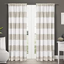 Exclusive Home Curtains Darma Linen Sheer Rod Pocket Window Curtain Panel Pair, Linen, 50x96