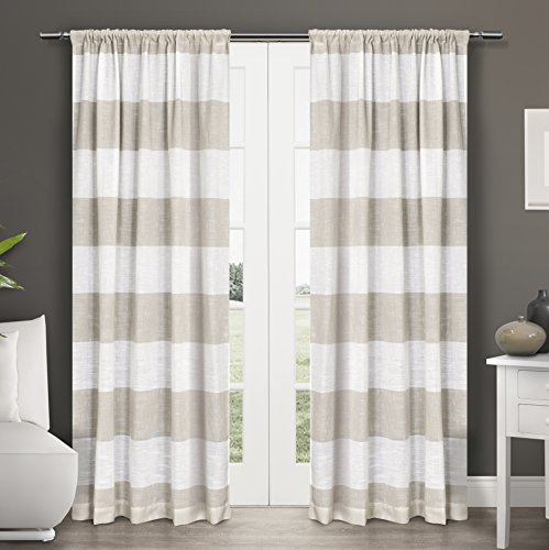 Exclusive Home Darma Rod Pocket Window Curtain Panels – 50″ X 108″, Linen, Sold As Set of 2 / PAIR
