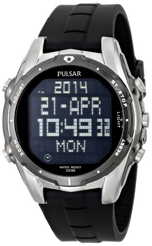 World Time 100m Watch - Pulsar Men's PQ2003 World Time Alarm Chronograph Black Urethane Strap Watch