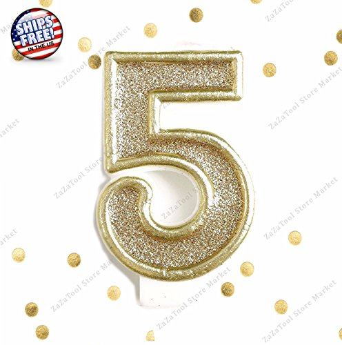 ZaZaTool - Light Gold Glitter Birthday Candle Number 5 Gold & White Cake Topper Five