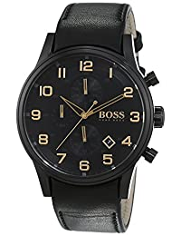 Hugo Boss 1513274 44mm Stainless Steel Case Black Calfskin Mineral Men's Watch
