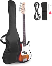 Glarry Electric Bass Guitar Full Size 4 String Rosewood Basswood Fire Style Exquisite Burning Bass (Sunset)