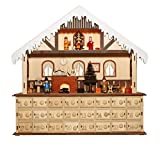 Bavarian Style Wooden Christmas Advent Calendar w/ Drawers (Alpine Home Scene)