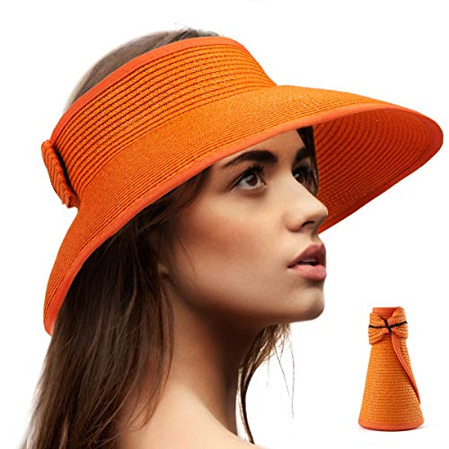 Summer Straw Hats for Women - Orange Hat Women Visors Sun Hat Travel Beach Visor