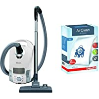 Miele Compact C1 Pure Suction Canister Vacuum,Lotus White & Miele 10123210 AirClean 3D Efficiency Dust Bag, Type GN, 4 Bags & 2 Filters