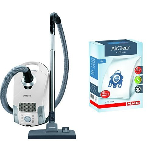 Miele Laconic C1 Pure Suction Canister Vacuum,Lotus White & Miele 10123210 AirClean 3D Efficiency Dust Bag, Type GN, 4 Bags & 2 Filters