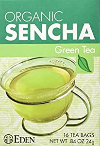 Eden Organic Green Tea, Sencha, Tea Bags, 16-Count Boxes (Pack of 12)