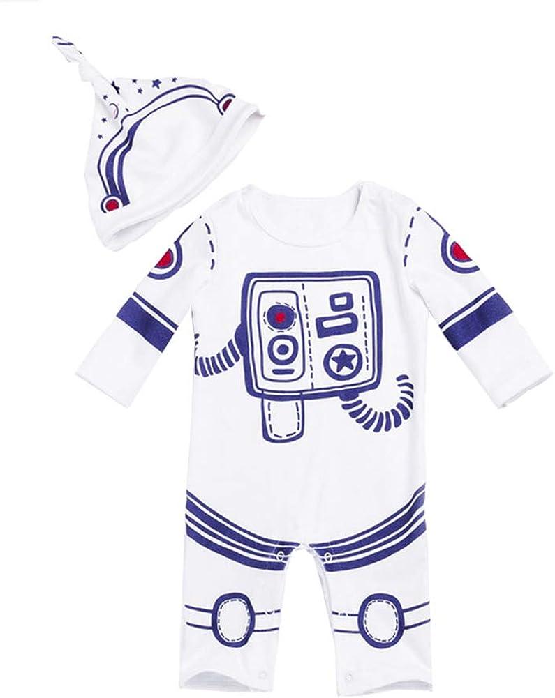 ZIHOUKIJ Unisexe B/éb/é Printemps Automne Coton Manche Longue Mod/èle de Costume Spatial Barboteuse 0-2 Ans