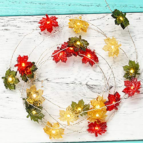 BOHON Thanksgiving Decorations Maple Leaves Fairy String Lights with Remote 10ft 40LEDs Battery Operated String Lights for Bedroom Fall Autumn Festival Halloween Thanksgiving Harvest Decor (Christmas Maple Decorations Leaf)