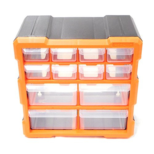 Tactix 320630 12 Drawer Cabinet, Black/Orange by Tactix