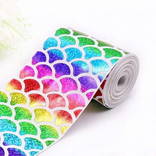 (Bubble-Princess - 1 Yard 7.5cm Rainbow Fish Scale Hologram Grosgrain Ribbon DIY Handmade Material Package Grosgrain Ribbon Wedding Party Decor)