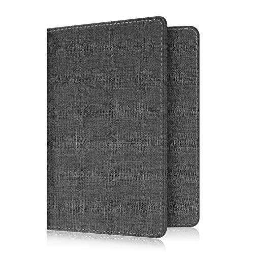 Fintie Passport Holder Travel Wallet RFID Blocking Fabric Card Case Cover, Denim Charcoal