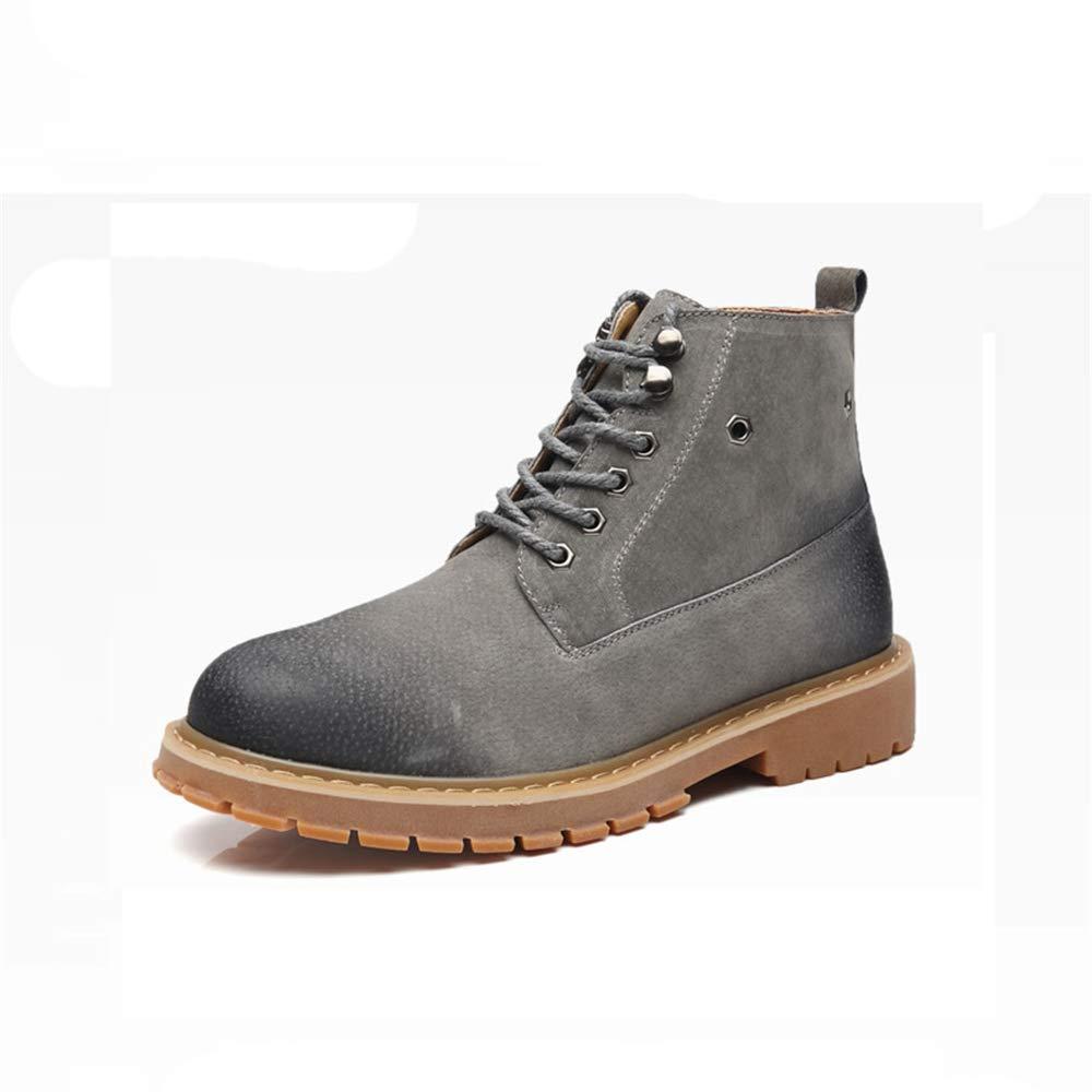 ZHRUI Mens Lace up Chukka Stiefel weiche Sohle beiläufige echte Leder Rutschfeste Stiefeletten (Farbe   Grau, Größe   EU 39)