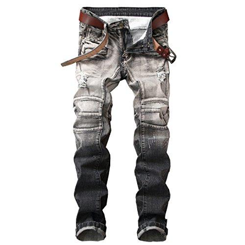 durable modeling Hombre Jeans Ripped Holes Zip Straight Casual Slim Skinny  Pantalones De Mezclilla Pantalones De 2e9c89c239c2