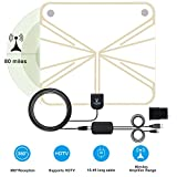 Amplified Indoor HDTV Antenna 50-80 Miles Range, Digital HDTV Antenna, Detachable Amplifier Long Range Indoor TV Antenna 1080P,16.4ft Long Coaxial Cable