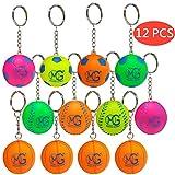 Macro Giant 1.5 inch (Diameter) Foam Sports Ball Keychains, Set of 12, Basketball, Soccer, Baseball, Neon Colors, Keyring