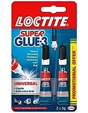 Loctite Super Glue-3 Universal, colle forte et résistante de haute qualité, colle liquide tous matériaux, colle transparente à séchage rapide, 2 tubes 3 g