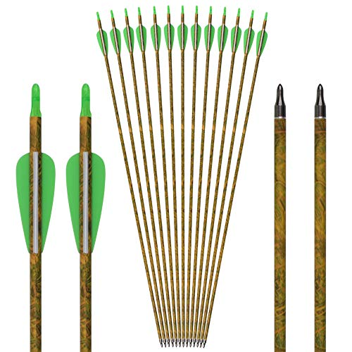 26Inch Carbon Arrow Camo Practice Hunting Arrows Targeting with Removable Tips for Archery Compound & Recurve & Traditional Bow (Pack of 12) ()