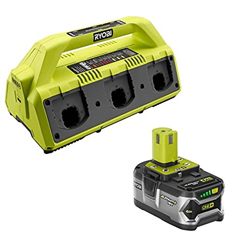 Ryobi P135 ONE+ battery 6-Port Supercharger with Ryobi P108 High Capacity 18-Volt Lithium Ion Battery (Bundle) (Ryobi P108 Charger)