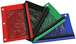Pencil Pouch Case with Front Mesh Window & Zipper, Standard 3-ring Binder. Stationery Wallet – Great Gift for School Students - 4 Pack